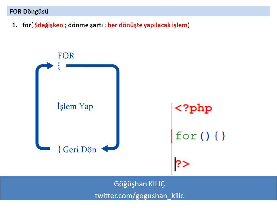 Göğüşhan KILIÇ twitter.com/gogushan_kilic FOR Döngüsü 1.for( $değişken ; dönme şartı ; her dönüşte yapılacak işlem)