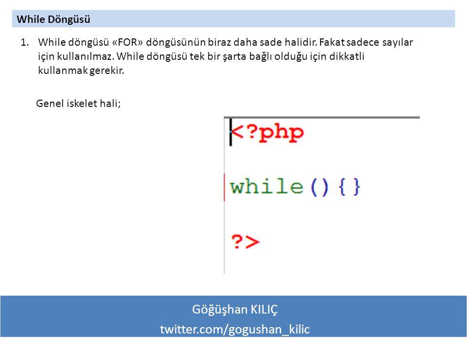 Göğüşhan KILIÇ twitter.com/gogushan_kilic While Döngüsü 1.While döngüsü «FOR» döngüsünün biraz daha sade halidir.