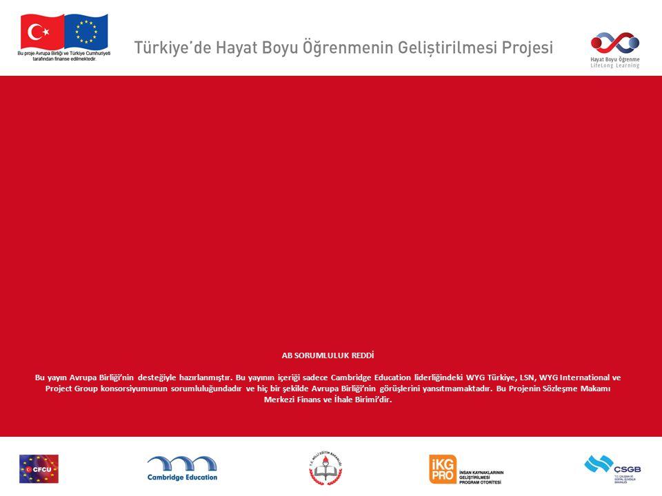 AB SORUMLULUK REDDİ Bu yayın Avrupa Birliği'nin desteğiyle hazırlanmıştır. Bu yayının içeriği sadece Cambridge Education liderliğindeki WYG Türkiye, L