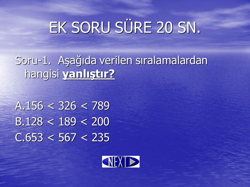 EK SORU SÜRE 20 SN. Soru-1. Aşağıda verilen sıralamalardan hangisi yanlıştır? A.156 < 326 < 789 B.128 < 189 < 200 C.653 < 567 < 235