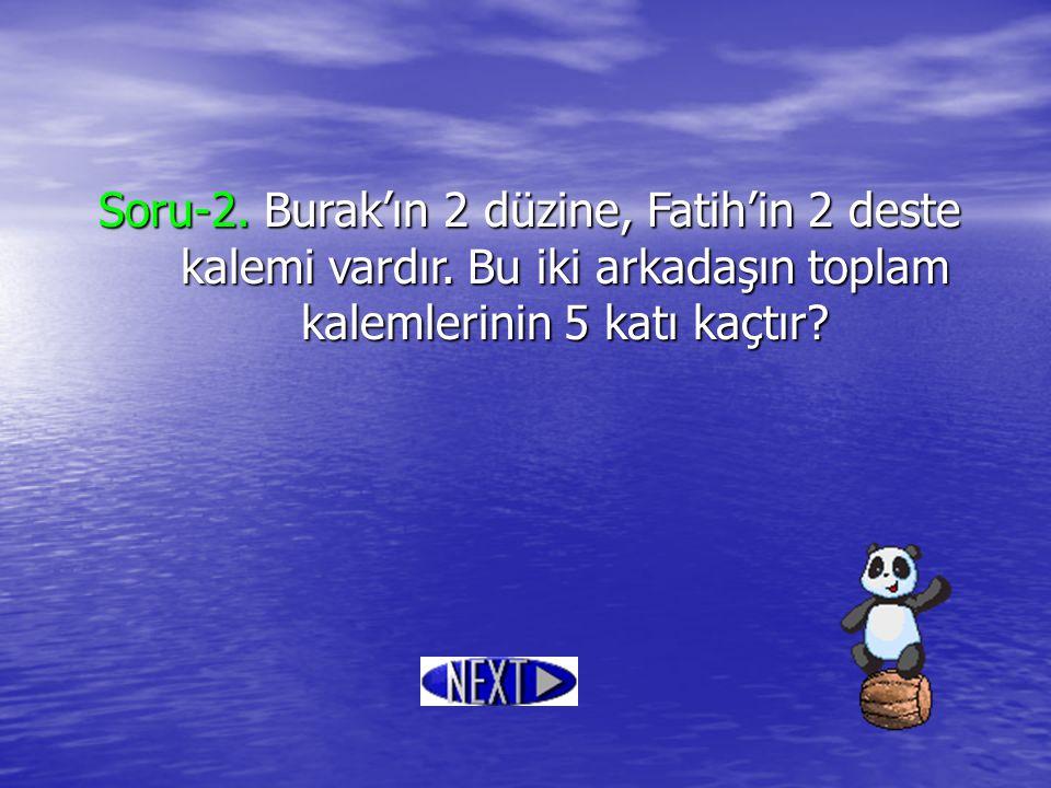 Soru-2. Burak'ın 2 düzine, Fatih'in 2 deste kalemi vardır. Bu iki arkadaşın toplam kalemlerinin 5 katı kaçtır?
