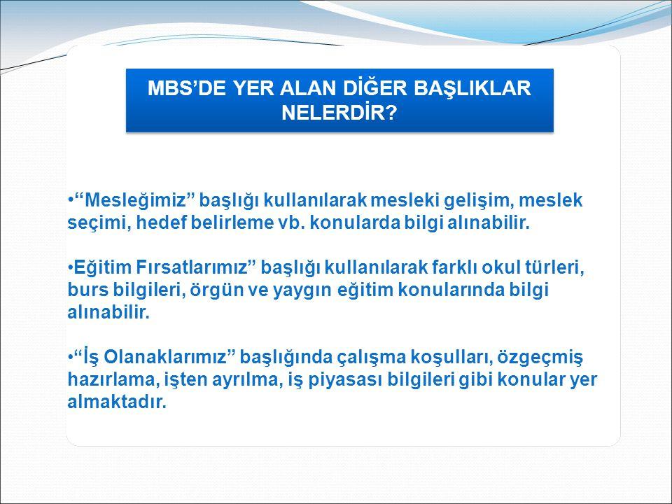MBS'DE YER ALAN DİĞER BAŞLIKLAR NELERDİR.