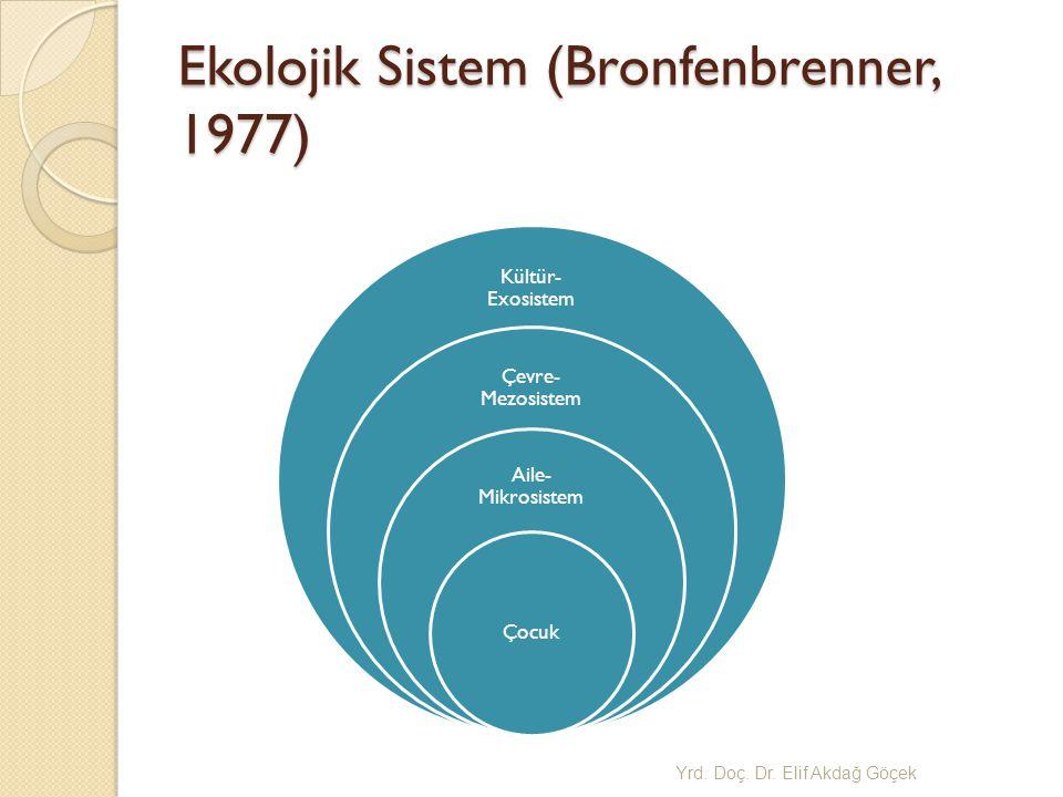 Ekolojik Sistem (Bronfenbrenner, 1977) Kültür- Exosistem Çevre- Mezosistem Aile- Mikrosistem Çocuk Yrd.