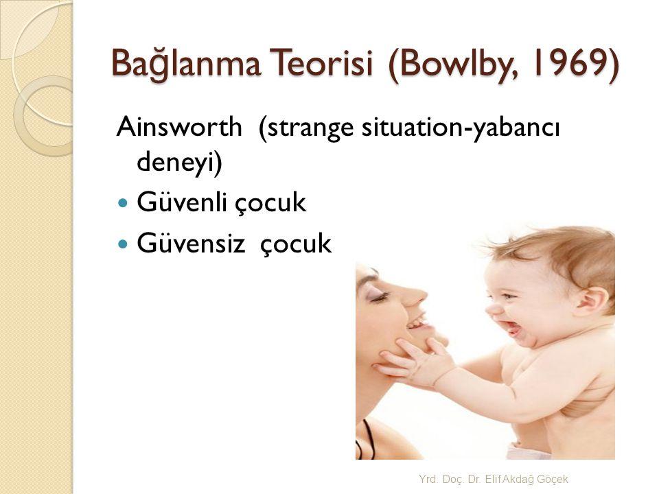 Ba ğ lanma Teorisi (Bowlby, 1969) Ainsworth (strange situation-yabancı deneyi) Güvenli çocuk Güvensiz çocuk Yrd.