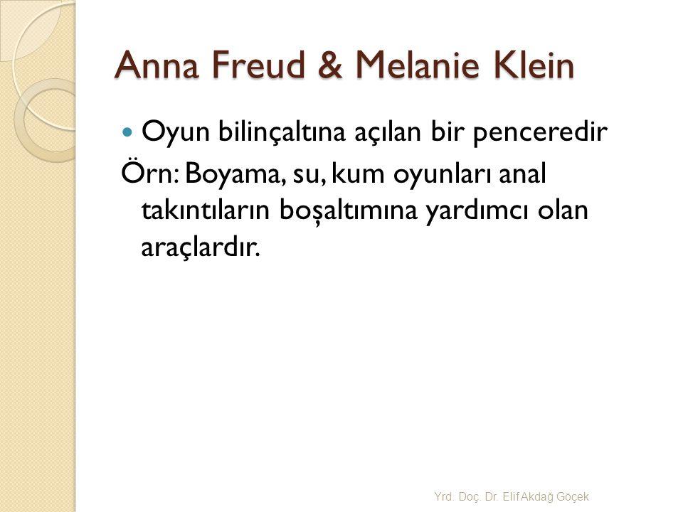 Anna Freud & Melanie Klein Oyun bilinçaltına açılan bir penceredir Örn: Boyama, su, kum oyunları anal takıntıların boşaltımına yardımcı olan araçlardır.