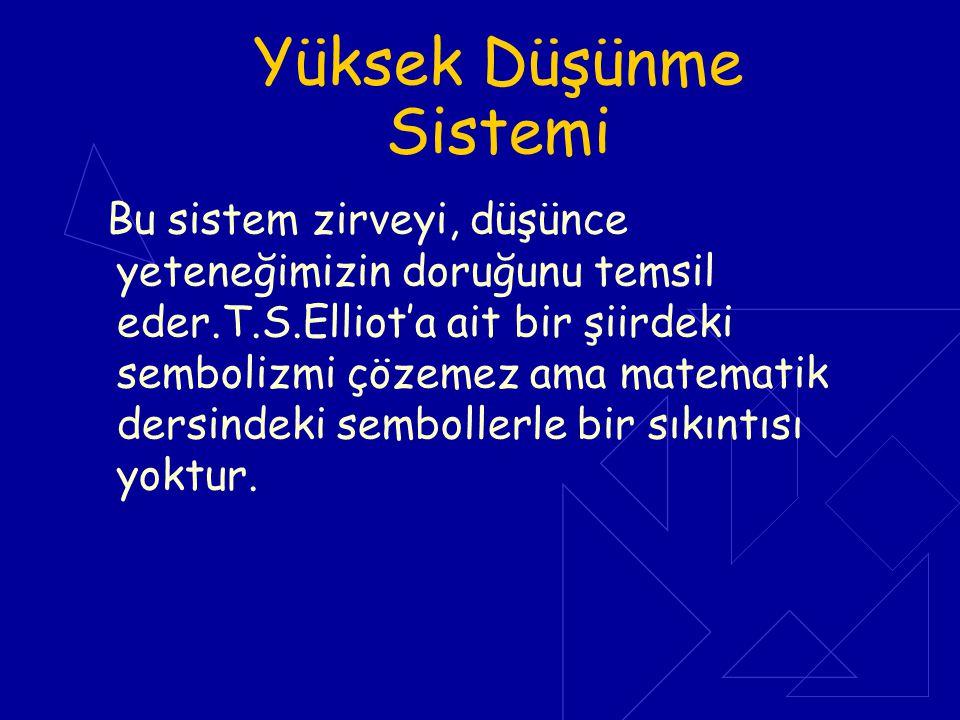 Yüksek Düşünme Sistemi Bu sistem zirveyi, düşünce yeteneğimizin doruğunu temsil eder.T.S.Elliot'a ait bir şiirdeki sembolizmi çözemez ama matematik de