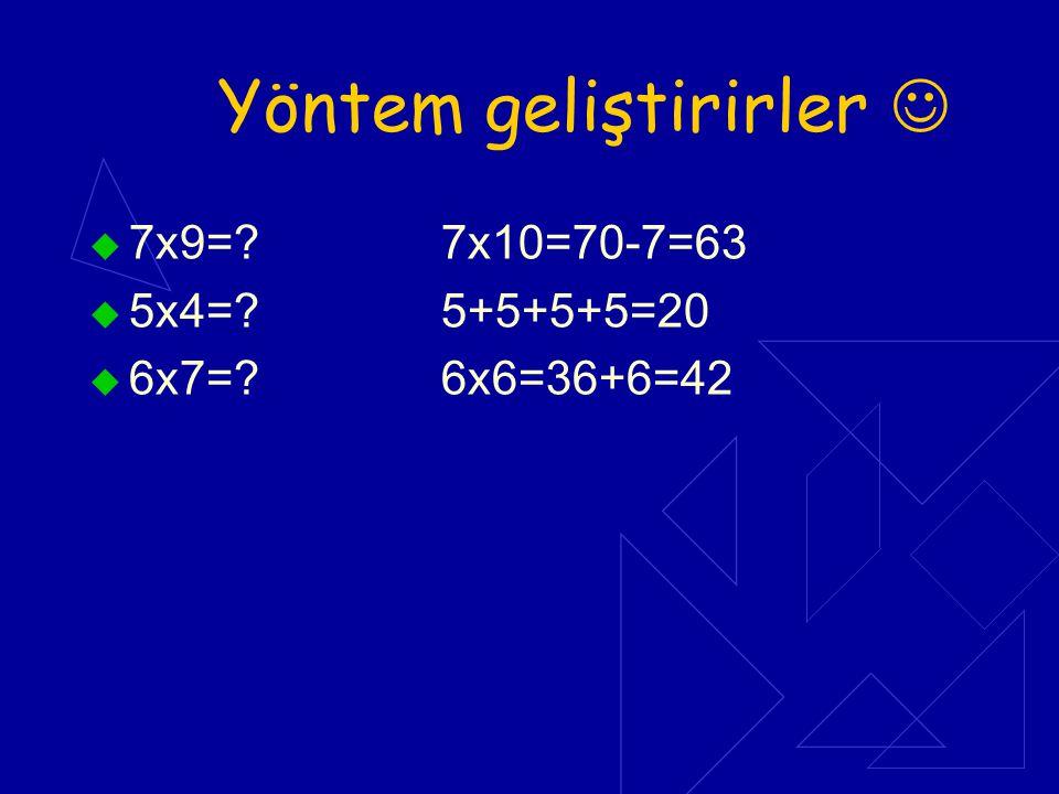 Yöntem geliştirirler  7x9=? 7x10=70-7=63  5x4=? 5+5+5+5=20  6x7=? 6x6=36+6=42