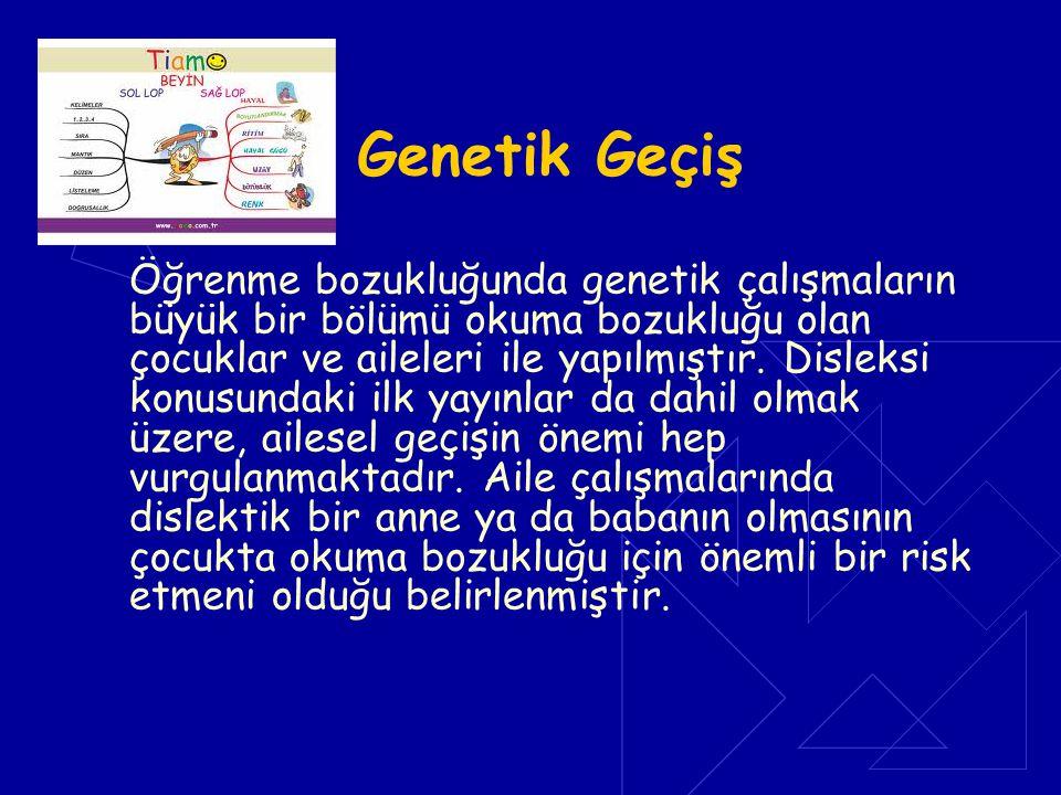 Genetik Geçiş Öğrenme bozukluğunda genetik çalışmaların büyük bir bölümü okuma bozukluğu olan çocuklar ve aileleri ile yapılmıştır. Disleksi konusunda