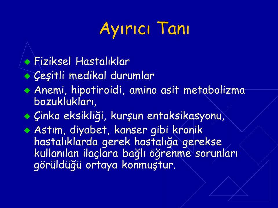 Ayırıcı Tanı  Fiziksel Hastalıklar  Çeşitli medikal durumlar  Anemi, hipotiroidi, amino asit metabolizma bozuklukları,  Çinko eksikliği, kurşun en