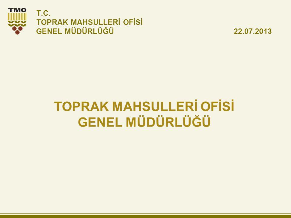 T.C. TOPRAK MAHSULLERİ OFİSİ GENEL MÜDÜRLÜĞÜ 22.07.2013 TOPRAK MAHSULLERİ OFİSİ GENEL MÜDÜRLÜĞÜ