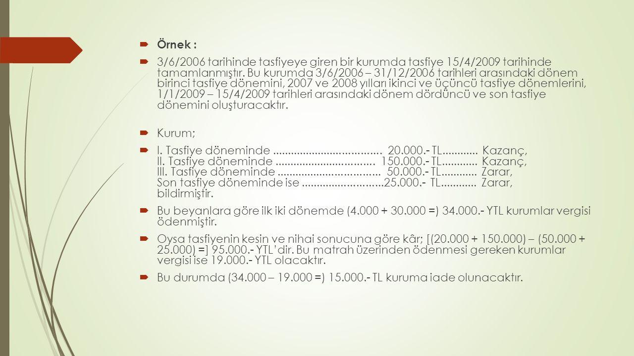 Devirlerde vergilendirme (KVK 20.mad.);  Devirlerde, aşağıdaki şartlara uyulduğu takdirde, münfesih kurumun sadece devir tarihine kadar elde ettiği kazançlar vergilendirilir; birleşmeden doğan kârlar ise hesaplanmaz ve vergilendirilmez.