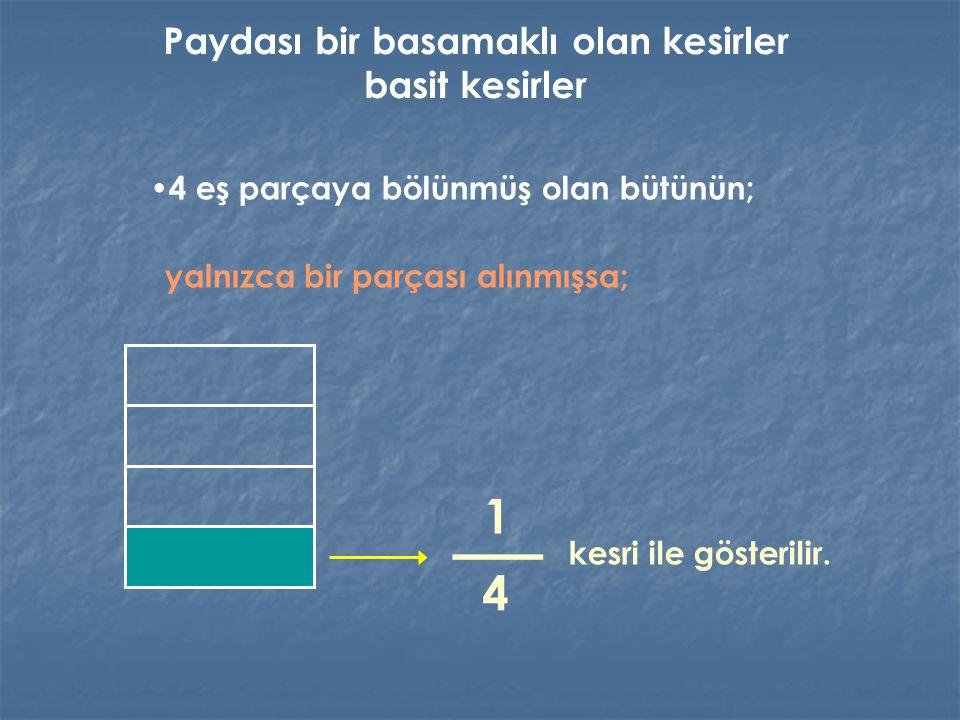 4 eş parçaya bölünmüş olan bütünün; yalnızca bir parçası alınmışsa; kesri ile gösterilir.
