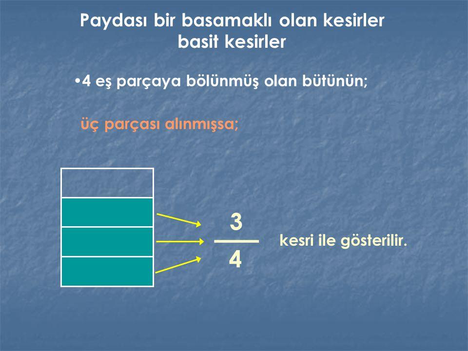 4 eş parçaya bölünmüş olan bütünün; üç parçası alınmışsa; kesri ile gösterilir. Paydası bir basamaklı olan kesirler basit kesirler