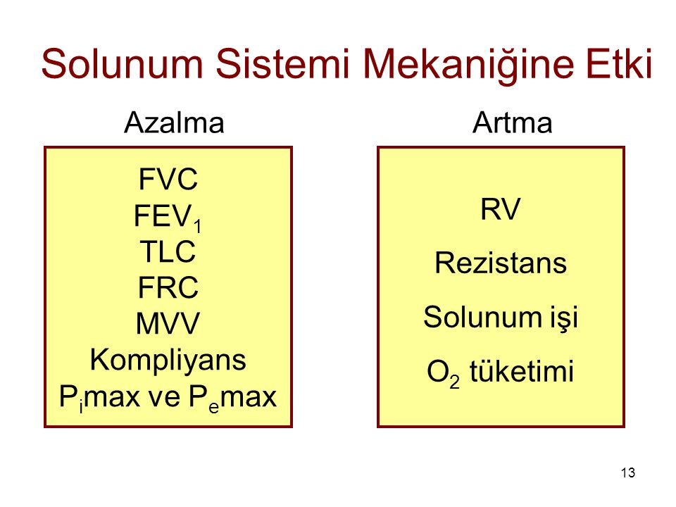 13 Solunum Sistemi Mekaniğine Etki FVC FEV 1 TLC FRC MVV Kompliyans P i max ve P e max RV Rezistans Solunum işi O 2 tüketimi Azalma Artma