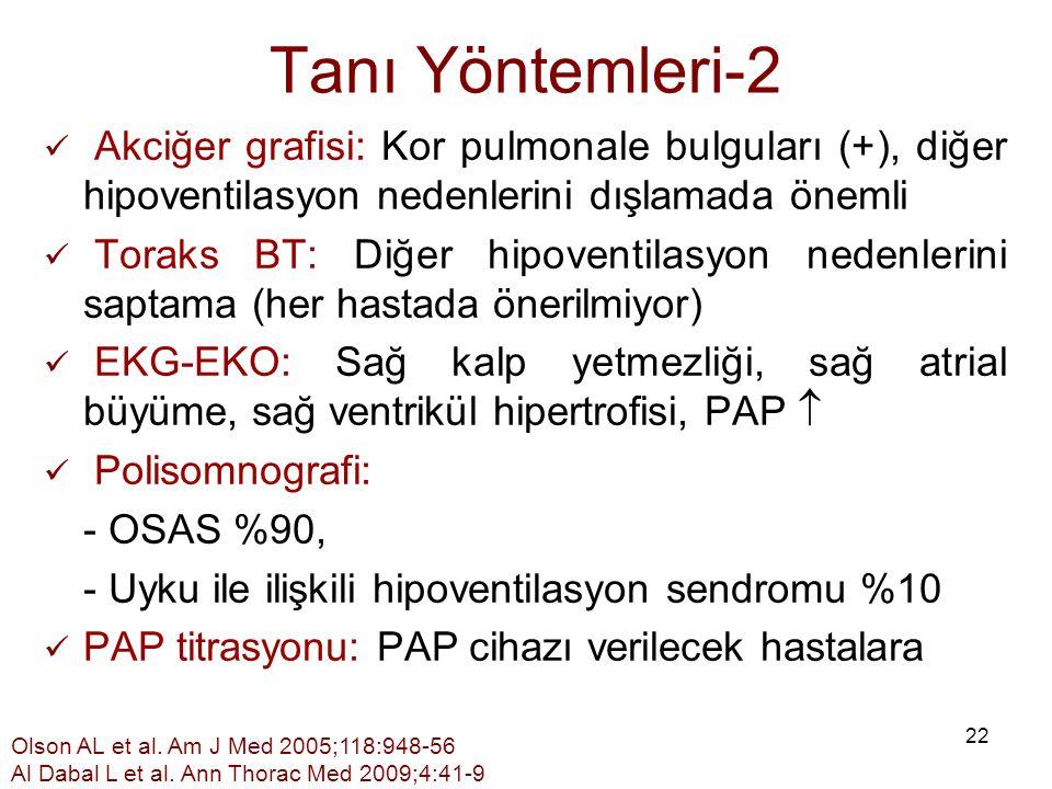 22 Tanı Yöntemleri-2 Akciğer grafisi: Kor pulmonale bulguları (+), diğer hipoventilasyon nedenlerini dışlamada önemli Toraks BT: Diğer hipoventilasyon