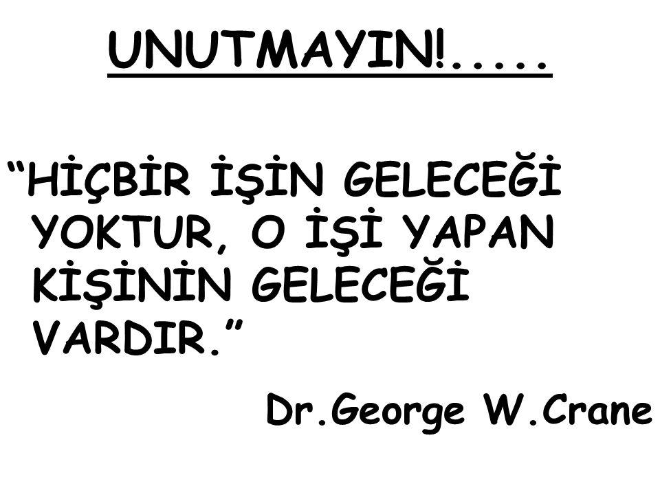 """UNUTMAYIN!..... """"HİÇBİR İŞİN GELECEĞİ YOKTUR, O İŞİ YAPAN KİŞİNİN GELECEĞİ VARDIR."""" Dr.George W.Crane"""