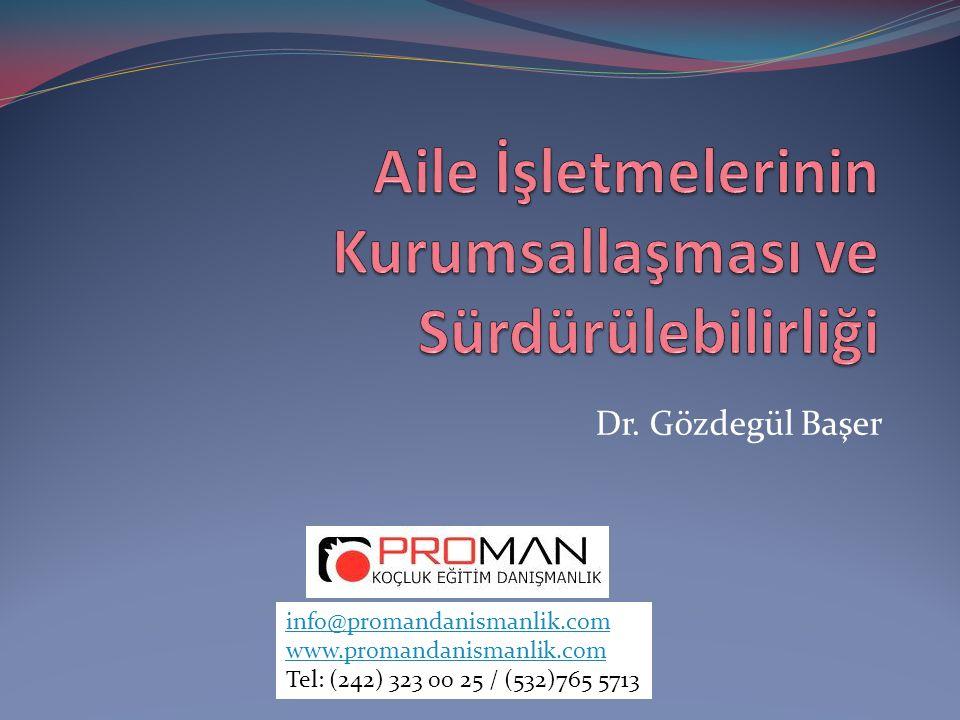 Dr. Gözdegül Başer info@promandanismanlik.com www.promandanismanlik.com Tel: (242) 323 00 25 / (532)765 5713