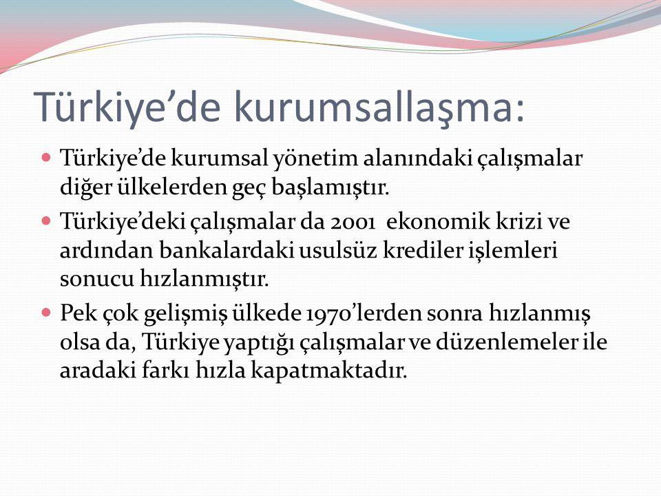 Türkiye'de kurumsallaşma: Türkiye'de kurumsal yönetim alanındaki çalışmalar diğer ülkelerden geç başlamıştır. Türkiye'deki çalışmalar da 2001 ekonomik