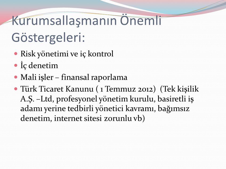Kurumsallaşmanın Önemli Göstergeleri: Risk yönetimi ve iç kontrol İç denetim Mali işler – finansal raporlama Türk Ticaret Kanunu ( 1 Temmuz 2012) (Tek