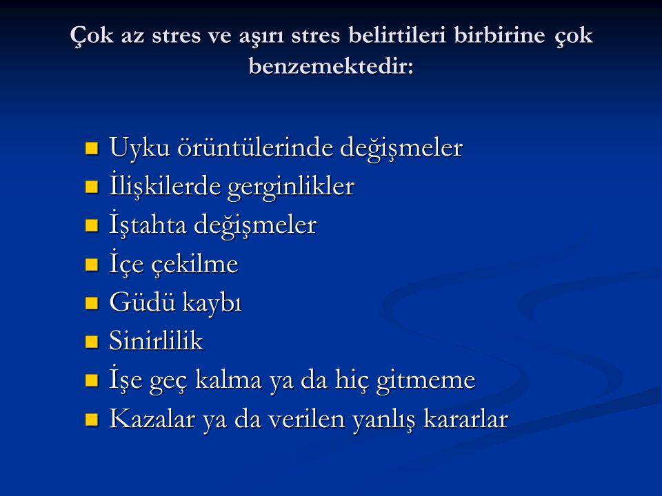 Çok az stres ve aşırı stres belirtileri birbirine çok benzemektedir: Uyku örüntülerinde değişmeler Uyku örüntülerinde değişmeler İlişkilerde gerginlik