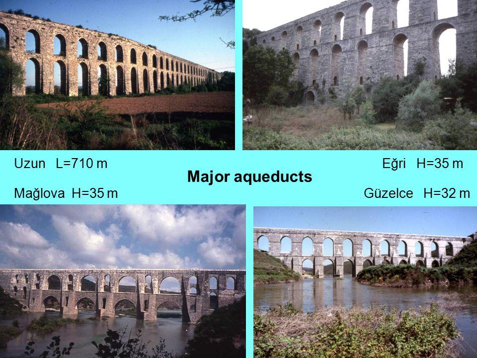 Uzun L=710 mEğri H=35 m Mağlova H=35 mGüzelce H=32 m Major aqueducts