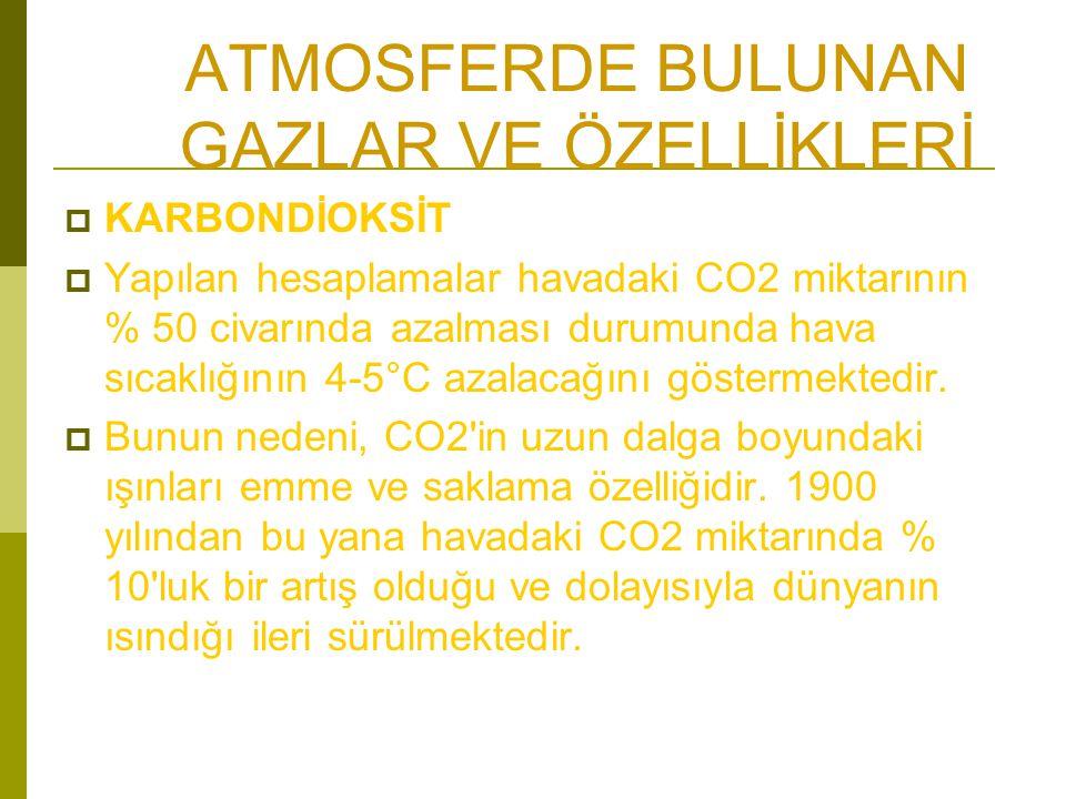 ATMOSFERDE BULUNAN GAZLAR VE ÖZELLİKLERİ  KARBONDİOKSİT  Yapılan hesaplamalar havadaki CO2 miktarının % 50 civarında azalması durumunda hava sıcaklığının 4-5°C azalacağını göstermektedir.