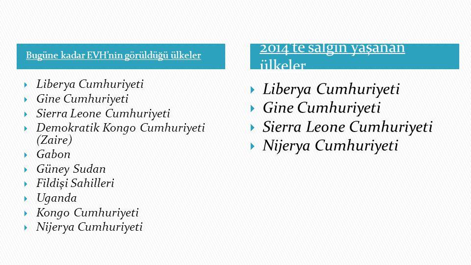 Bugüne kadar EVH'nin görüldüğü ülkeler 2014'te salgın yaşanan ülkeler  Liberya Cumhuriyeti  Gine Cumhuriyeti  Sierra Leone Cumhuriyeti  Demokratik
