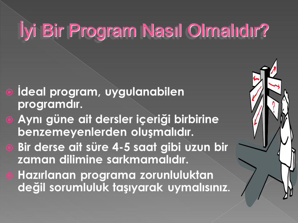  İdeal program, uygulanabilen programdır.
