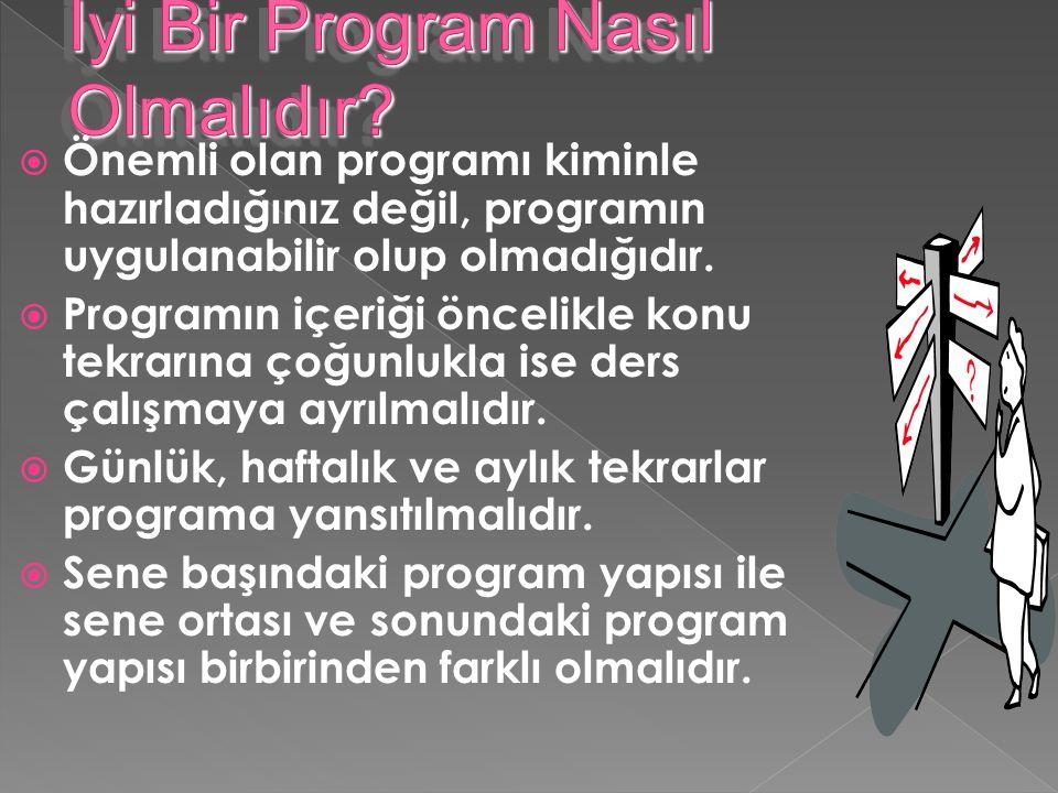  İdeal program, uygulanabilen programdır.  Aynı güne ait dersler içeriği birbirine benzemeyenlerden oluşmalıdır.  Bir derse ait süre 4-5 saat gibi