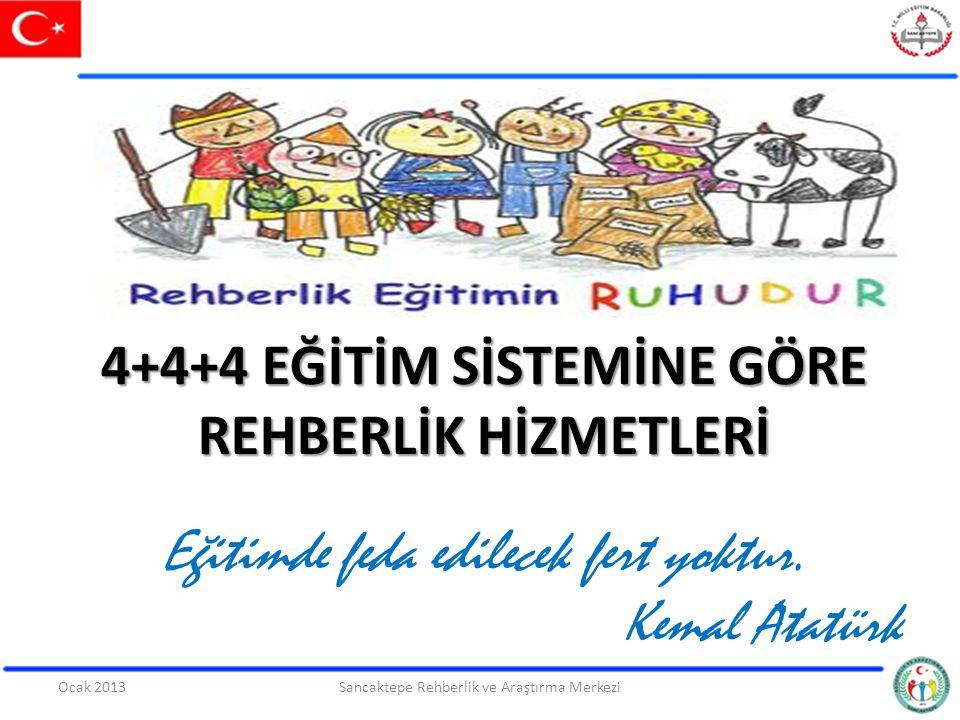 4+4+4 EĞİTİM SİSTEMİNE GÖRE REHBERLİK HİZMETLERİ Eğitimde feda edilecek fert yoktur. Kemal Atatürk Sancaktepe Rehberlik ve Araştırma Merkezi1Ocak 2013