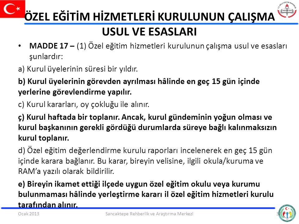 ÖZEL EĞİTİM HİZMETLERİ KURULUNUN ÇALIŞMA USUL VE ESASLARI MADDE 17 – (1) Özel eğitim hizmetleri kurulunun çalışma usul ve esasları şunlardır: a) Kurul