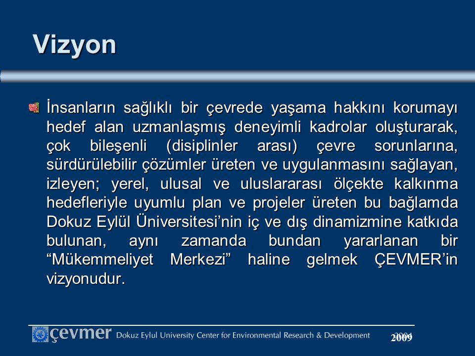 Vizyon İnsanların sağlıklı bir çevrede yaşama hakkını korumayı hedef alan uzmanlaşmış deneyimli kadrolar oluşturarak, çok bileşenli (disiplinler arası) çevre sorunlarına, sürdürülebilir çözümler üreten ve uygulanmasını sağlayan, izleyen; yerel, ulusal ve uluslararası ölçekte kalkınma hedefleriyle uyumlu plan ve projeler üreten bu bağlamda Dokuz Eylül Üniversitesi'nin iç ve dış dinamizmine katkıda bulunan, aynı zamanda bundan yararlanan bir Mükemmeliyet Merkezi haline gelmek ÇEVMER'in vizyonudur.