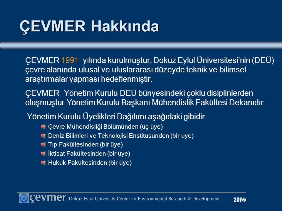 ÇEVMER Hakkında ÇEVMER 1991 yılında kurulmuştur, Dokuz Eylül Üniversitesi'nin (DEÜ) çevre alanında ulusal ve uluslararası düzeyde teknik ve bilimsel araştırmalar yapması hedeflenmiştir.
