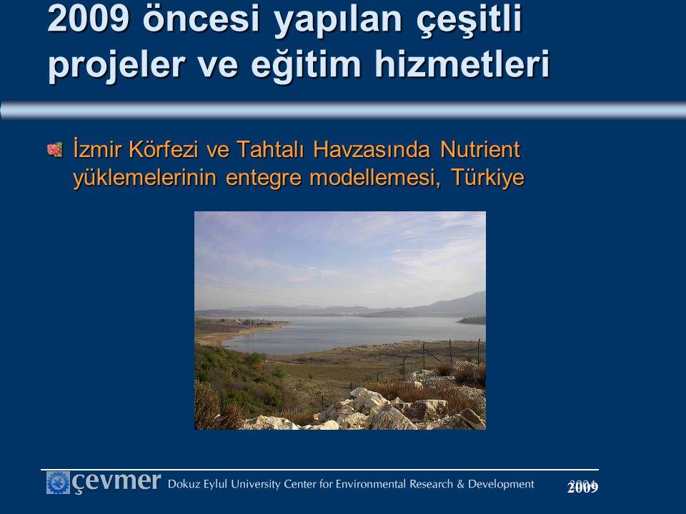 2009 öncesi yapılan çeşitli projeler ve eğitim hizmetleri İzmir Körfezi ve Tahtalı Havzasında Nutrient yüklemelerinin entegre modellemesi, Türkiye 2009