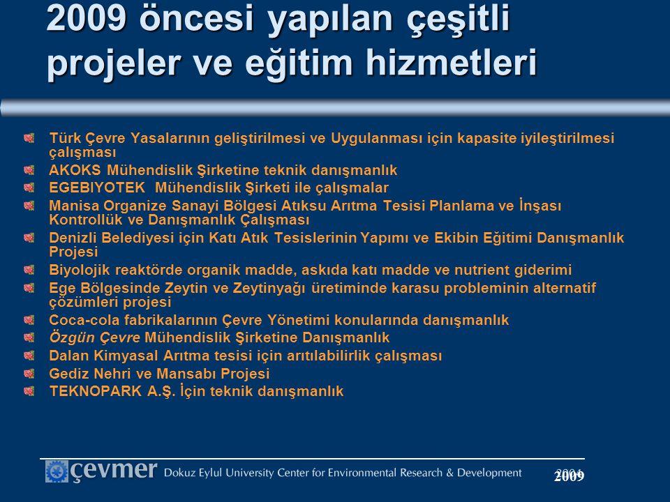 2009 öncesi yapılan çeşitli projeler ve eğitim hizmetleri Türk Çevre Yasalarının geliştirilmesi ve Uygulanması için kapasite iyileştirilmesi çalışması AKOKS Mühendislik Şirketine teknik danışmanlık EGEBIYOTEK Mühendislik Şirketi ile çalışmalar Manisa Organize Sanayi Bölgesi Atıksu Arıtma Tesisi Planlama ve İnşası Kontrollük ve Danışmanlık Çalışması Denizli Belediyesi için Katı Atık Tesislerinin Yapımı ve Ekibin Eğitimi Danışmanlık Projesi Biyolojik reaktörde organik madde, askıda katı madde ve nutrient giderimi Ege Bölgesinde Zeytin ve Zeytinyağı üretiminde karasu probleminin alternatif çözümleri projesi Coca-cola fabrikalarının Çevre Yönetimi konularında danışmanlık Özgün Çevre Mühendislik Şirketine Danışmanlık Dalan Kimyasal Arıtma tesisi için arıtılabilirlik çalışması Gediz Nehri ve Mansabı Projesi TEKNOPARK A.Ş.