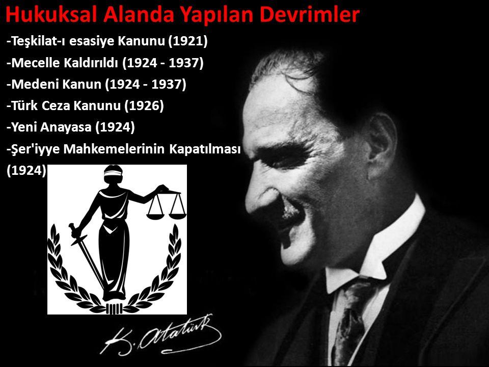 Hukuksal Alanda Yapılan Devrimler -Teşkilat-ı esasiye Kanunu (1921) -Mecelle Kaldırıldı (1924 - 1937) -Medeni Kanun (1924 - 1937) -Türk Ceza Kanunu (1