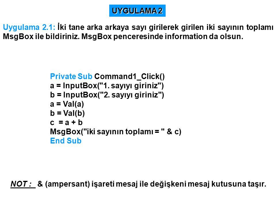 Uygulama 2.1: İki tane arka arkaya sayı girilerek girilen iki sayının toplamı MsgBox ile bildiriniz.