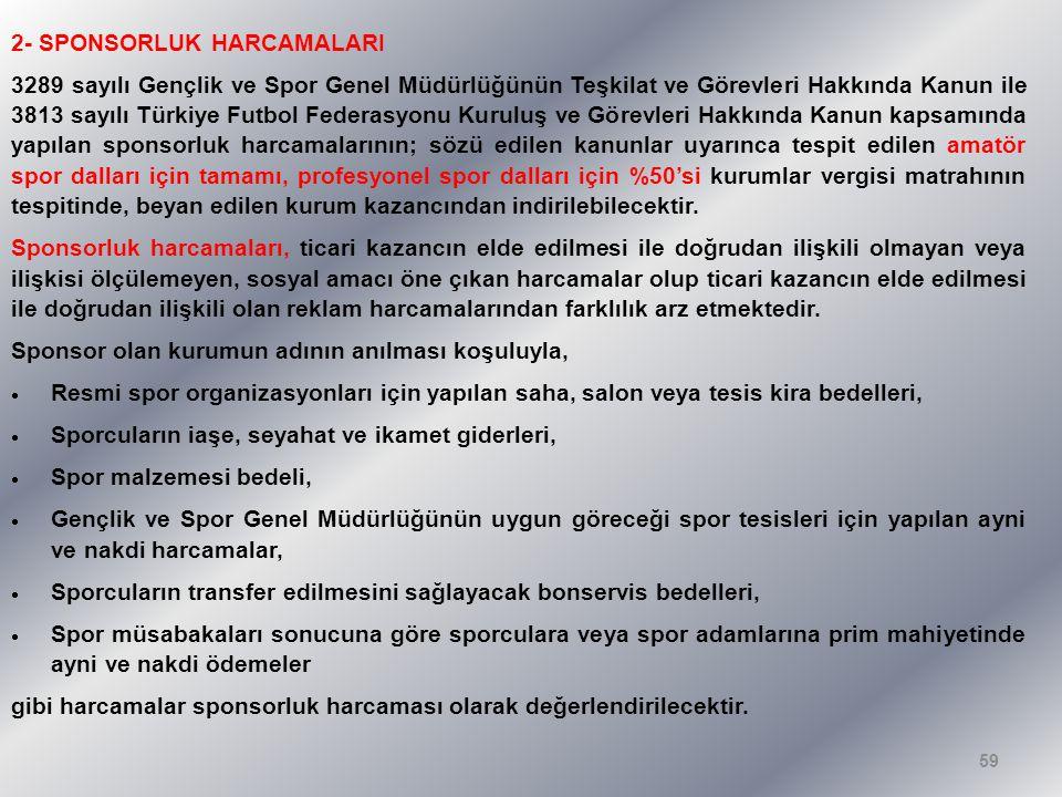 2- SPONSORLUK HARCAMALARI 3289 sayılı Gençlik ve Spor Genel Müdürlüğünün Teşkilat ve Görevleri Hakkında Kanun ile 3813 sayılı Türkiye Futbol Federasyo