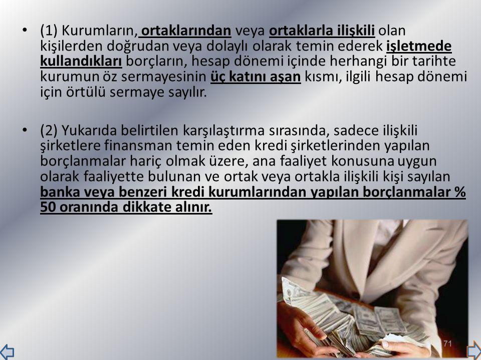(1) Kurumların, ortaklarından veya ortaklarla ilişkili olan kişilerden doğrudan veya dolaylı olarak temin ederek işletmede kullandıkları borçların, he