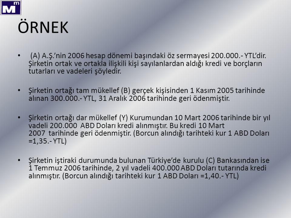 ÖRNEK (A) A.Ş.'nin 2006 hesap dönemi başındaki öz sermayesi 200.000.- YTL'dir. Şirketin ortak ve ortakla ilişkili kişi sayılanlardan aldığı kredi ve b
