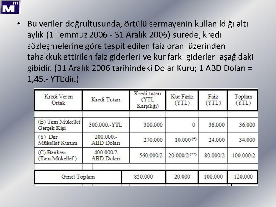 Bu veriler doğrultusunda, örtülü sermayenin kullanıldığı altı aylık (1 Temmuz 2006 - 31 Aralık 2006) sürede, kredi sözleşmelerine göre tespit edilen f