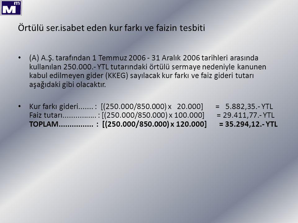 Örtülü ser.isabet eden kur farkı ve faizin tesbiti (A) A.Ş. tarafından 1 Temmuz 2006 - 31 Aralık 2006 tarihleri arasında kullanılan 250.000.- YTL tuta