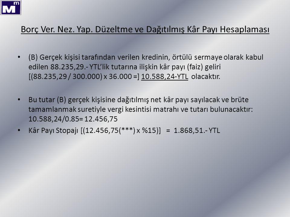 Borç Ver. Nez. Yap. Düzeltme ve Dağıtılmış Kâr Payı Hesaplaması (B) Gerçek kişisi tarafından verilen kredinin, örtülü sermaye olarak kabul edilen 88.2