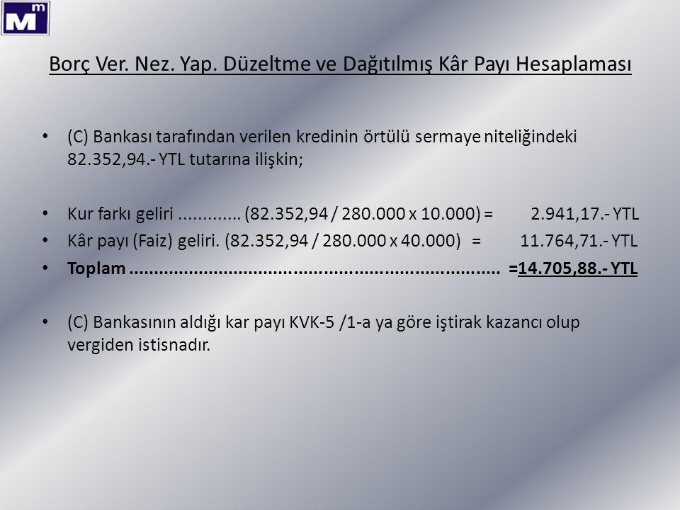 Borç Ver. Nez. Yap. Düzeltme ve Dağıtılmış Kâr Payı Hesaplaması (C) Bankası tarafından verilen kredinin örtülü sermaye niteliğindeki 82.352,94.- YTL t