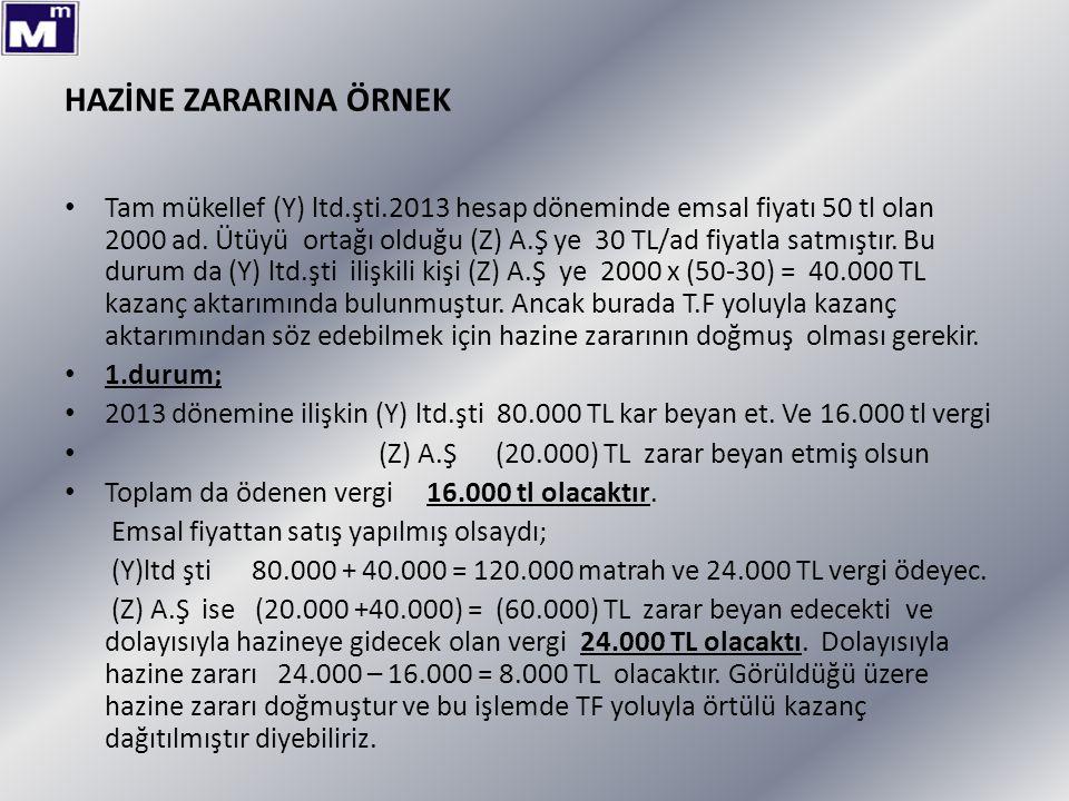 HAZİNE ZARARINA ÖRNEK Tam mükellef (Y) ltd.şti.2013 hesap döneminde emsal fiyatı 50 tl olan 2000 ad. Ütüyü ortağı olduğu (Z) A.Ş ye 30 TL/ad fiyatla s