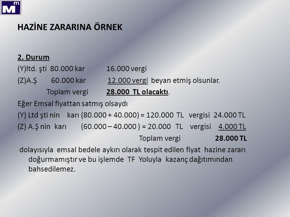 HAZİNE ZARARINA ÖRNEK 2. Durum (Y)ltd. şti 80.000 kar 16.000 vergi (Z)A.Ş 60.000 kar 12.000 vergi beyan etmiş olsunlar. Toplam vergi 28.000 TL olacakt