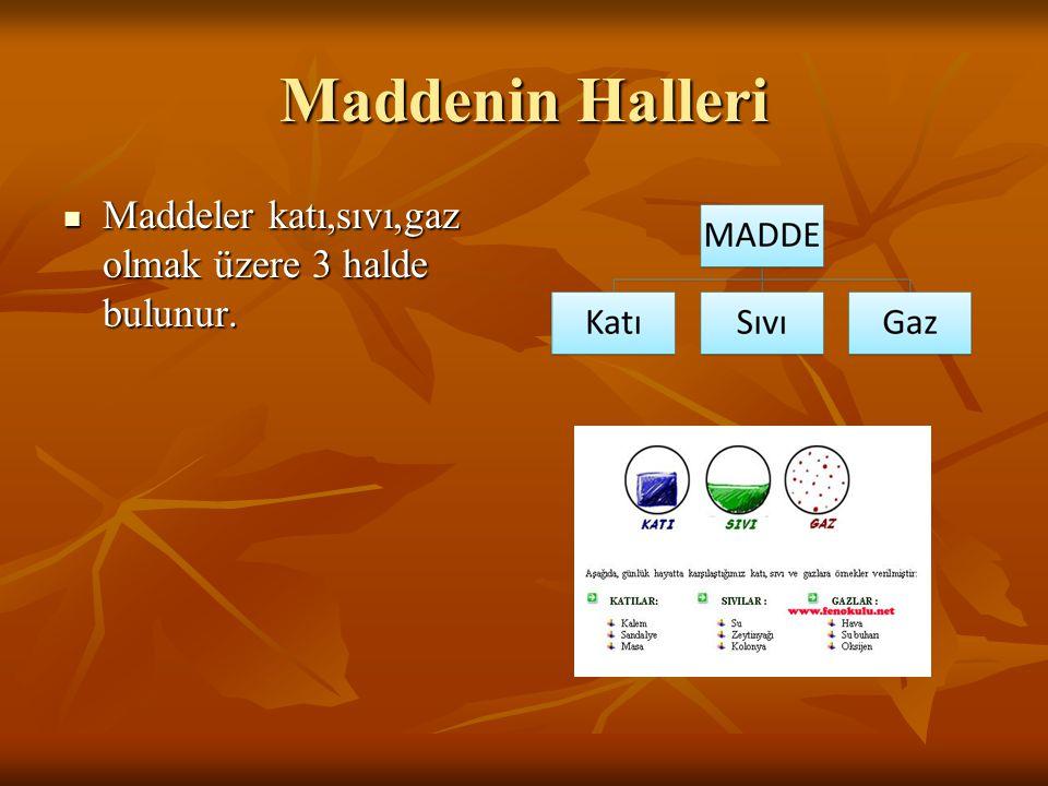 Maddenin Halleri Maddeler katı,sıvı,gaz olmak üzere 3 halde bulunur. Maddeler katı,sıvı,gaz olmak üzere 3 halde bulunur.