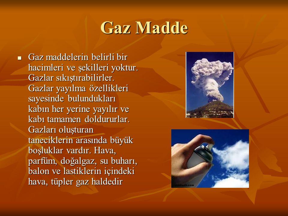 Gaz Madde Gaz maddelerin belirli bir hacimleri ve şekilleri yoktur.