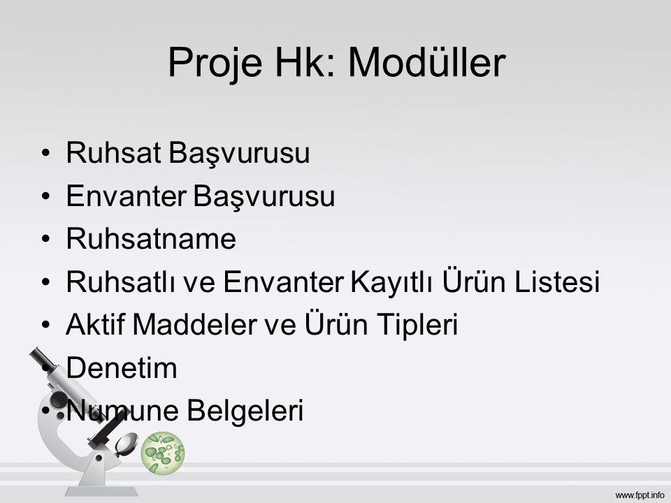 Proje Hk: Modüller Ruhsat Başvurusu Envanter Başvurusu Ruhsatname Ruhsatlı ve Envanter Kayıtlı Ürün Listesi Aktif Maddeler ve Ürün Tipleri Denetim Num