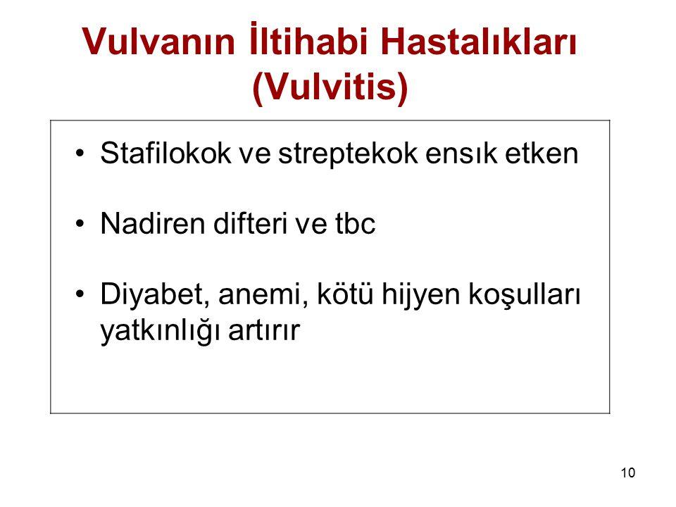 10 Vulvanın İltihabi Hastalıkları (Vulvitis) Stafilokok ve streptekok ensık etken Nadiren difteri ve tbc Diyabet, anemi, kötü hijyen koşulları yatkınl